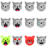 Cat smile emoji set. Emoticon icon flat style vector.