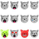 Cat smile emoji set. Emoticon icon flat style vector.
