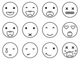 Outline round smile emoji set. Emoticon icon linear style vector.