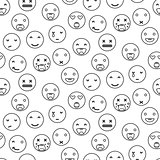 Outline round smile emoji seamless pattern. Emoticon icon linear style vector.