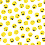 Yellow round smile emoji seamless pattern. Emoticon icon flat style vector.