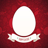 Red Happy Easter Poster With Egg