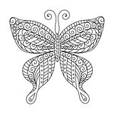 Coloring book for adult and older children. Coloring page. Outline drawing. Decorative butterfly in frame