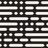 Black and White Irregular Dashed Lines Pattern. Abstract Vector Seamless Background