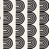 Monochrome minimalistic tribal seamless pattern with arc lines. Vector background with inky black art on white rounded stripe.