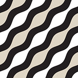 Vector Seamless Geometric Pattern. Monochrome Wavy Lines. Elegant Ripple Stripes