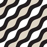 Vector Seamless Geometric Pattern. Monochrome Wavy Lines. Elegant Ripple Stripes