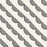 Monochrome minimalistic seamless pattern with arcs. Simple hand drawn texture. Vector background with rounded inky lines