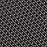 Vector Seamless Pattern. Abstract Background With Brush Lines. Monochrome Hand Drawn Geometric Shapes Texture