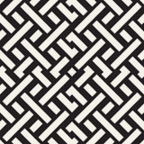 Interlacing Lines Maze Lattice. Ethnic Monochrome Texture. Vector Seamless Black and White Pattern