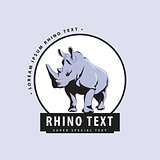 Designer logo with rhinoceros on a blue background