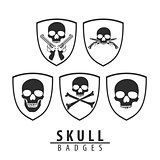 Skull emblem on white background