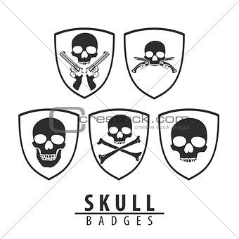 Skull emblem on white background