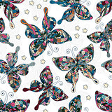 Seamless patterns with butterflies. Various butterflies and flowers on white background.