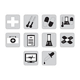 Flat black medical icon set
