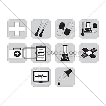 Flat black medical icon set