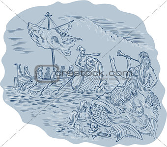 Greek Trireme Navigator Pointing Avoiding Sirens Drawing