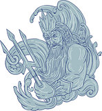 Poseidon Trident Waves Drawing