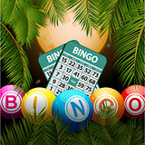 Bingo balls and cards over moon and palm trees