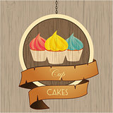 Cupcakes trio on wooden sign with rope details