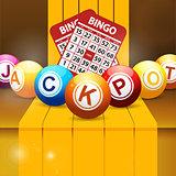 Jackpot bingo balls over golden steps