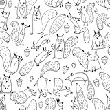 Funny squirrel with nut, seamless pattern for your design