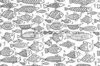 Fish collection, seamless pattern for your design
