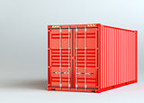 Red cargo container on gray background