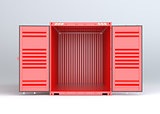Open red cargo container on gray background