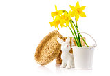 Easter rabbit eggs spring flowers narcissus