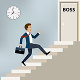Businessman running to boss office.