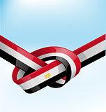 egypt ribbon flag on bue sky background