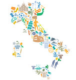 italian map with silhouette symbol set