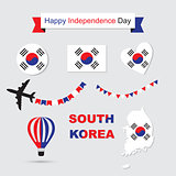 South Korea flag and map icons set