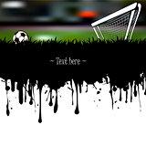 Grunge banner a soccer ball and gate