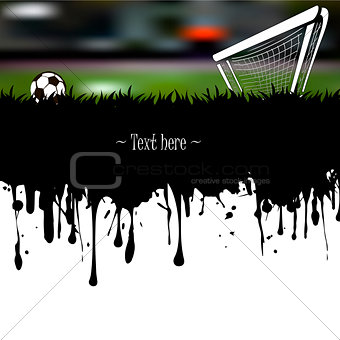 Grunge banner a soccer ball and gate