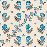 Abstract berries floral seamless pattern.