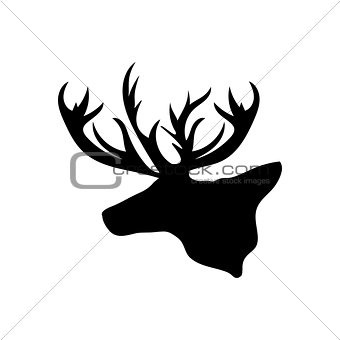 Black silhouette head Reindeer white background