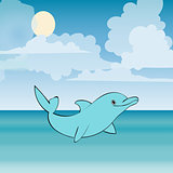 Dolphin sea animal beautiful landscape