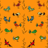 Tree with cute colorful birds seamless pattern background