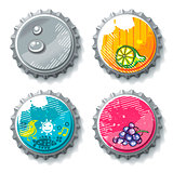 Vector set of grunge metallic bottle caps