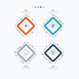 Infographics template four options with square