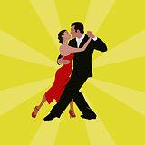 Tango dancing couple man and woman