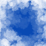 Cloud frame on blue sky background frame with copyspace