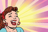 young woman laughs, style pop art poster