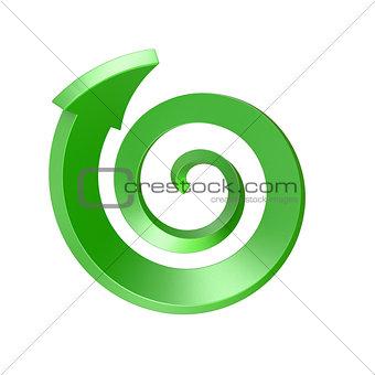 Green spiral arrow.Top view. 3D