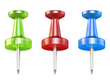 Color push pins. Front view. 3D
