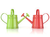 Two green and red 3D renders watering can