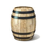 Wooden wine barrel. 3D