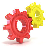 Red and yellow gear wheels, 3D